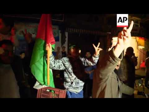 Hamas spokesman, ground shots of celebrations on the streets of Gaza City