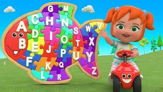 Little Baby Fun Learning Alphabets ABC Song for Children - Color ABC Puzzle Wooden Toy Set 3D Kids