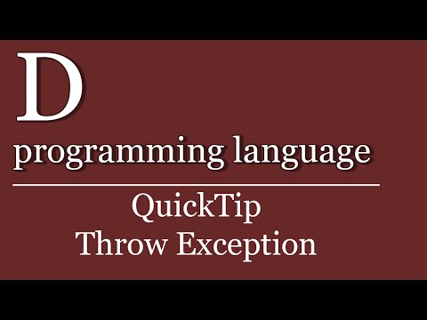 QuickTip #121 - D Throw Exception | D programming language | custom exception