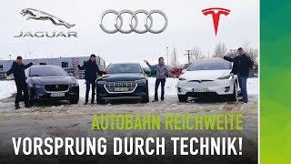 Vorsprung durch Technik: Audi e-tron vs Tesla Model X vs I-Pace | Autobahn Verbrauch & Reichweite