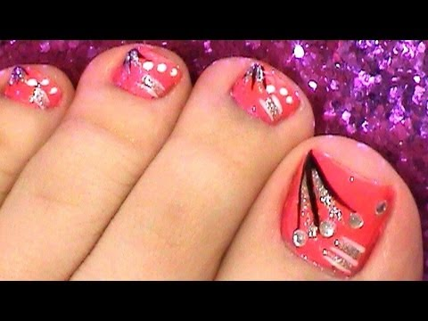 fun pink toe rhinestones  stripes nail art design