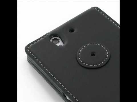 PDair Ultra Thin Leather Case for Sony Xperia Z L36H - Flip Type (Black)