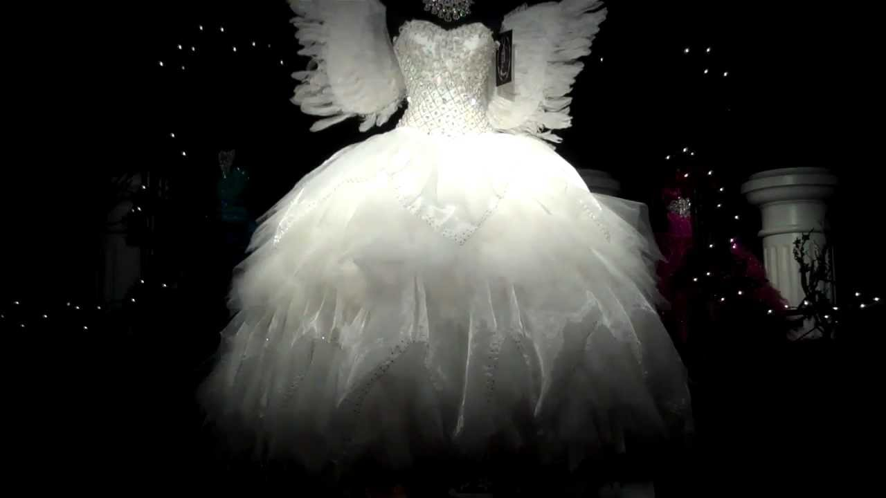 QUINCEANERA DRESS TRADITIONAL WHITE WITH ANGEL WINGS WOW ...
