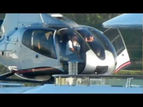 Helicopter landing on Super Yacht Attessa IV in Marina Del Rey, April 2012
