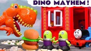 Funny Funlings dinosaur mayhem at McDonalds Drive thru for Thomas and Friends Trains TT4U
