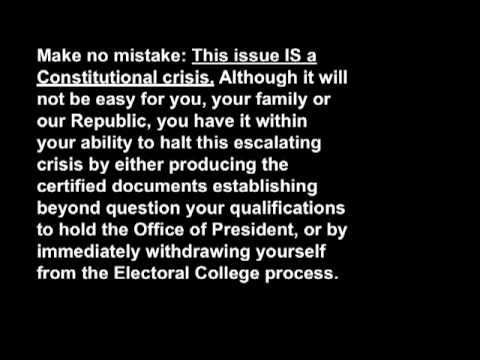 We the People Foundation OPEN LETTER to OBAMA 11-10-2008
