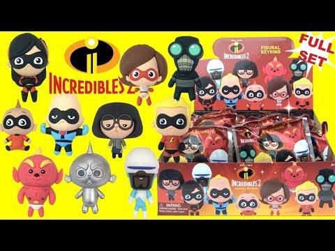 Disney Pixar THE INCREDIBLES 2 Figural Keyrings TOYS with Superheroes and Baby Jack Jack