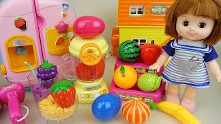 Baby doll color fruit shaker and mart with surprise eggs play