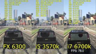 GTA V | GTX 970 | FX 6300 - i5 3570k - i7 6700k | 1080p FXAA and MSAA 2x | BENCHMARK