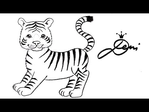 How to draw a cute baby tiger