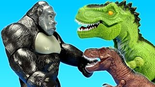 Dinosaur T-rex Attacks Giant Gorilla! Let's see who wins! Dinosaurs Toys For Kids