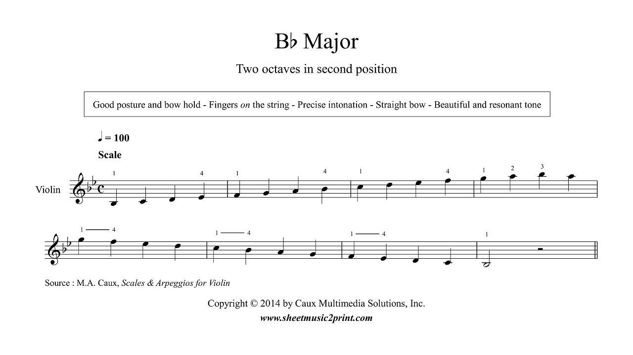 b Flat Major Scale Notes Violin b Flat Major Scale