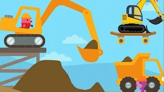 Excavator for Kids Playing with Skateboard | Finger Family Song | KM Kids TV