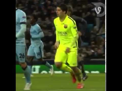 Luis Suarez did not bite Martin Demichelis  - Manchester City vs Barcelona 2015