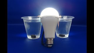 Water with Light Bulb Using Salt Water And mini Magnets - Free Energy 100%