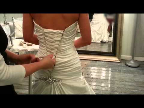 Lacing up a corset back gown youtube for How to lace a corset wedding dress