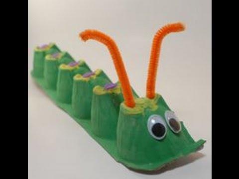 Поделка гусеница из кассет из под яиц
