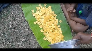 Cooking Farm Fresh Banana Chips In My Village Farm - Nendhiran Chips - Food Money Food