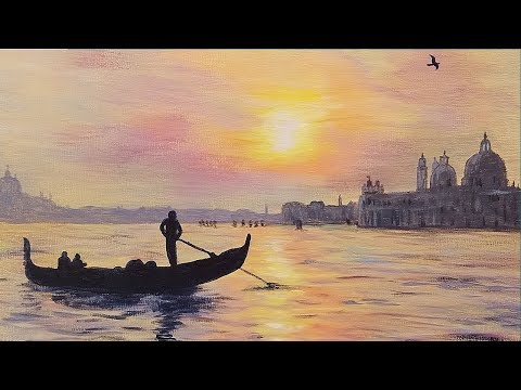 Venice Sunset Step by Step Acrylic Painting Tutorial for Beginners