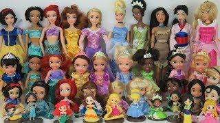 DISNEY PRINCESSES Dolls Learn Sizes from Smallest to Big Rapunzel Ariel Belle Tiana Aurora