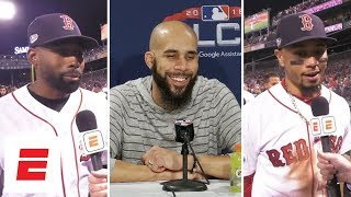 Jackie Bradley Jr., David Price and Mookie Betts react to the Red Sox's Game 2 win   MLB Interviews