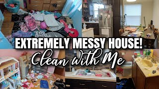 EXTREME CLEAN WITH ME | EXTREMELY MESSY HOUSE CLEANING MOTIVATION | TIME LAPSE CLEANING ALL DAY