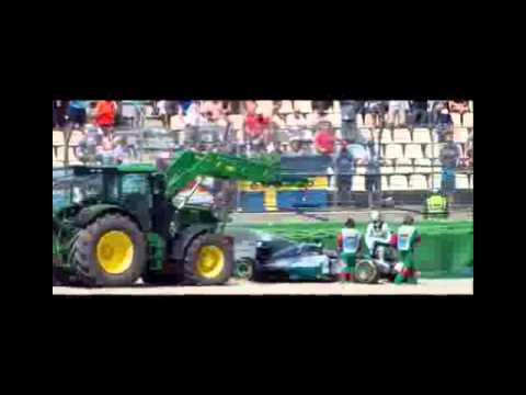 Lewis Hamilton crashes heavily in German GP as Rosberg takes pole