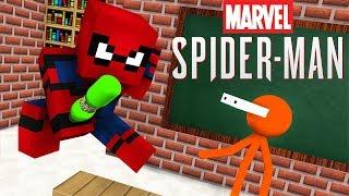 Monster School : STICKMAN & MARVEL'S SPIDER-MAN BOTTLE FLIP CHALLENGE - Minecraft Animation