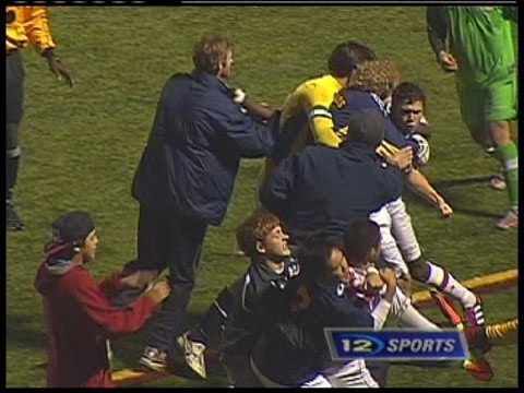 Championship soccer match breaks into on-field brawl