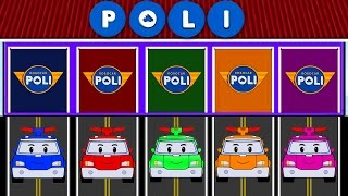 Coloured Cars Learn Colors in English - Learning Colors with Street Vehicles Robocar Poli Coloring