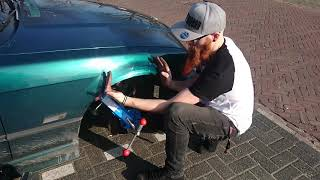 rolling the fenders on the drift build.