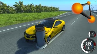 BeamNG Drive: Bollard High Speed Crash Compilation