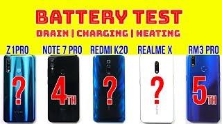 Redmi K20 Battery Test: vs Realme X, Vivo Z1Pro, Note 7 Pro, Realme 3 Pro | PUBG Heating | Charging