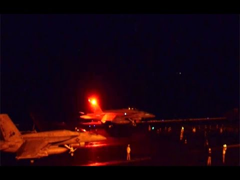 U.S. Aircraft Carrier Night Flight Operations Against ISIL in Syria