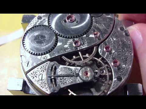 How I install a balance on a pocket watch movement. Elgin B W Raymond