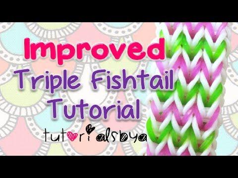 NEW & IMPROVED Triple Fishtail Bracelet Rainbow Loom Tutorial- EASY VERSION- OFFICIAL VIDEO