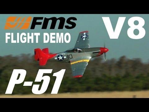 FMS V8 P-51 MUSTANG Red Tail Flight & Model DEMONSTRATION  By: RCINFORMER