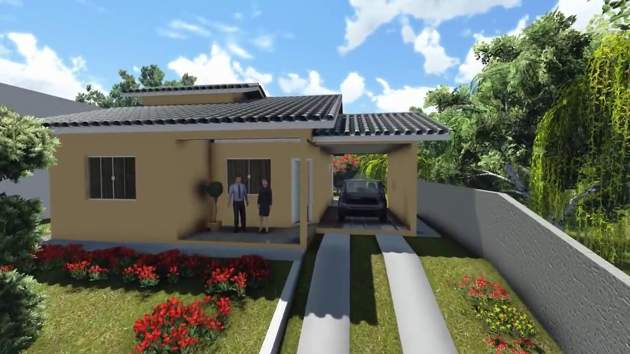 Projetos de casas modelo de uma casa pequena com 3 quartos for Modelos de casas pequenas modernas