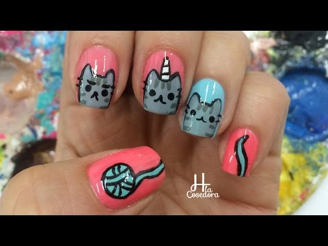 Decoracion de Uñas Gato Pusheen - Pusheen Nail Art