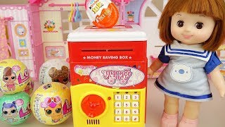 Baby doll and LoL surprise eggs coin bank toys play