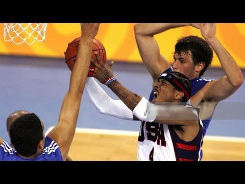 USA vs Greece 2004 Athens Olympics Men's Basketball Group Game FULL GAME English
