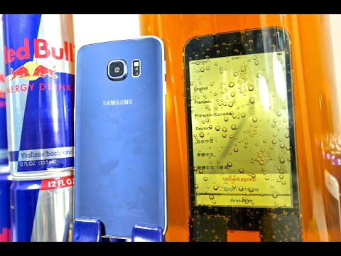 Samsung Galaxy S6 Edge VS iPhone 6 DEEP Redbull Test - Waterproof?