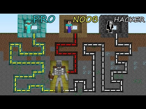 Minecraft Battle: NOOB vs PRO vs HACKER: SURVIVAL IN SKELETON  MUTANT MAZE in Minecraft MAP!