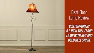 Floor Lamp Review - Contemporary 61-inch Tall Floor Lamp with Red and Gold Bell Shade