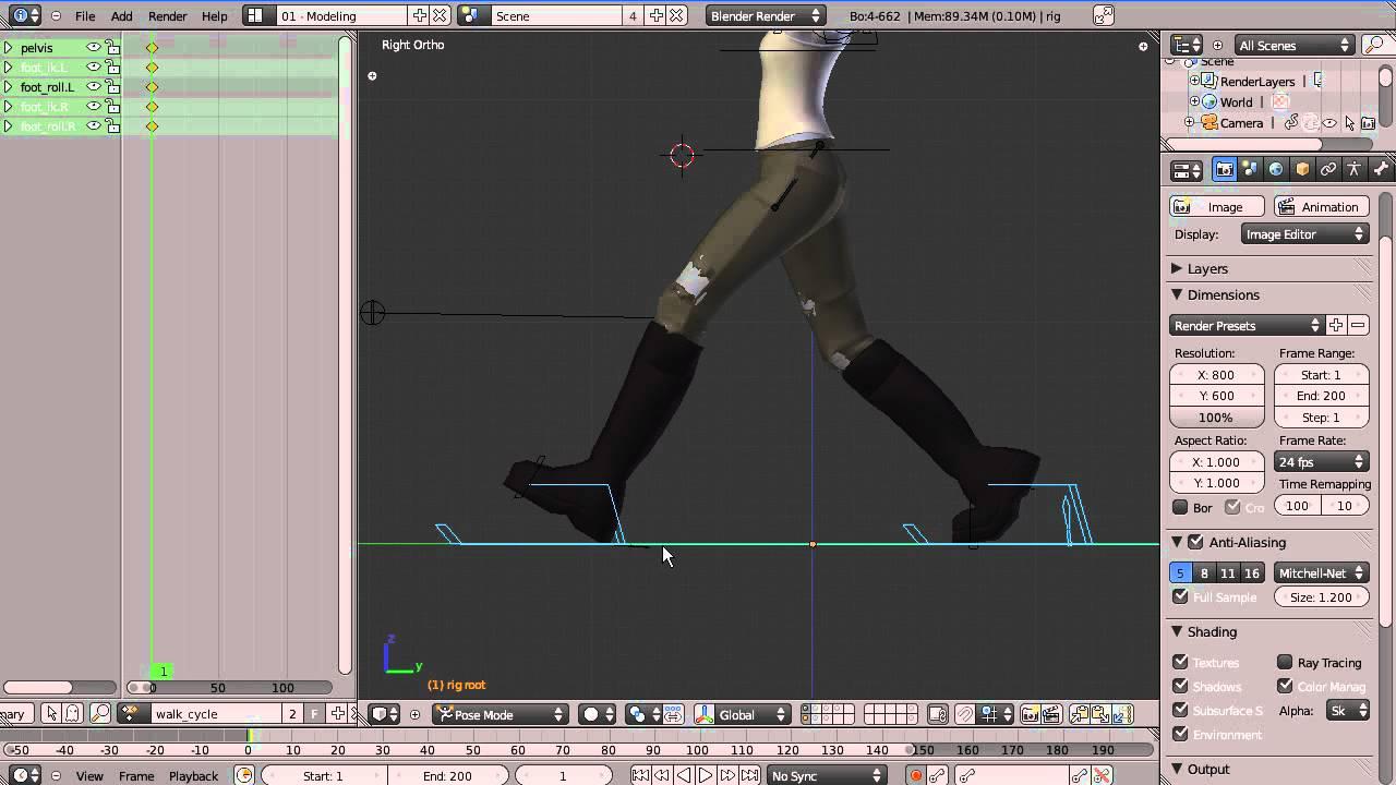 Digital tutors - animating a walk cycle in blender software: blender v275 project files
