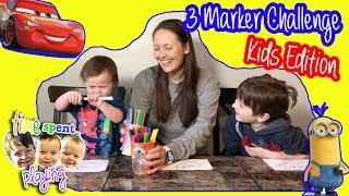 CHEATING at the 3 Marker Challenge KIDS EDITION | 2 Year Old Does 3 Marker Challenge