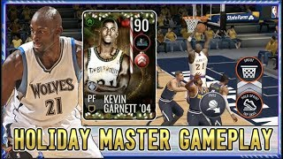 90 KEVIN GARNETT '04 HOLIDAY MASTER GAMEPLAY REVIEW!   NBA LIVE MOBILE 19 S3 NORTH POLE MASTER