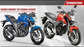 Honda CB Hornet 160R  vs Suzuki Gixxer | Comparison Video | BikeDekho.com