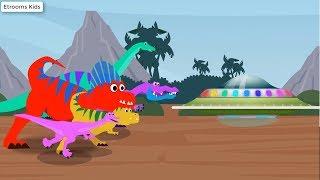 Funny Cartoons Dinosaur Alien UFO Dance | Dinosaur Finger Family Songs for Children