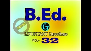 B.Ed Questions | Vol 32 | Interview Questions | Aptitude Questions | Child Development and Pedagogy